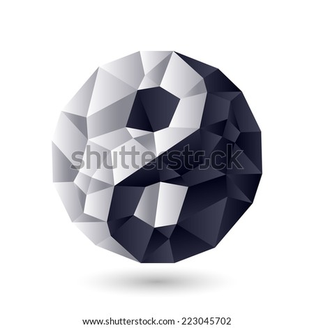 Ying-yang symbol of harmony and balance. Crystal, jewel or ice structure.  - stock vector