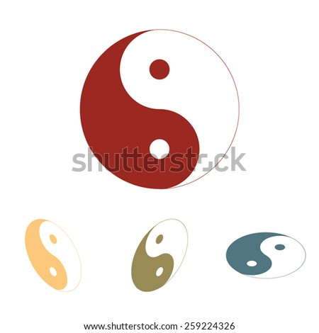 Ying yang symbol of harmony and balance icon  set. Isometric effect - stock vector