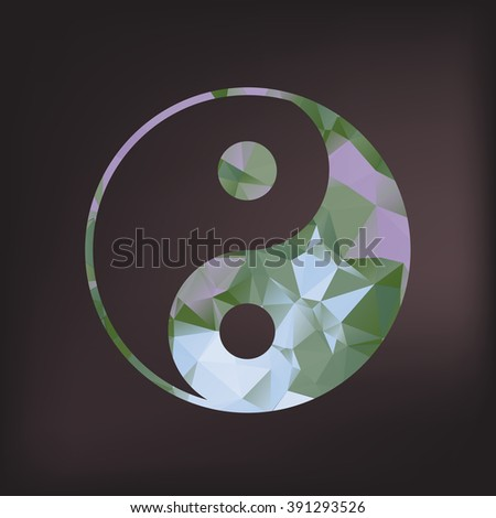 Ying yang symbol of harmony and balance. Sacred geometry. Polygonal texture.