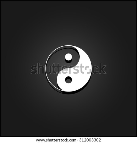 Ying yang symbol of harmony and balance. White flat simple vector icon with shadow on a black background - stock vector