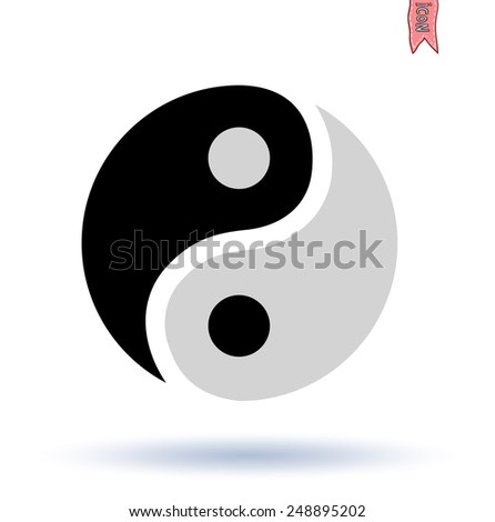 Ying yang symbol  vector silhouette - stock vector
