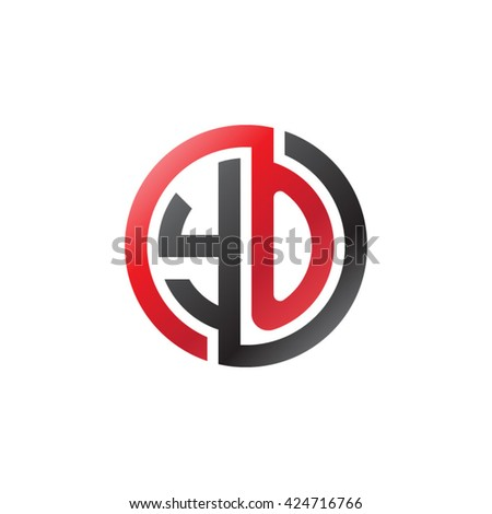 YO initial letters looping linked circle logo red black - stock vector