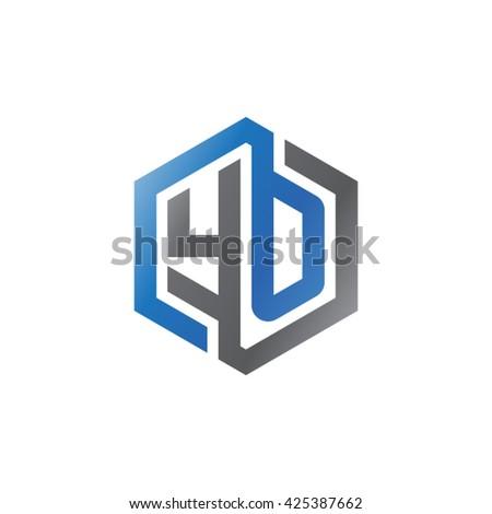 YO initial letters looping linked hexagon logo black gray blue - stock vector