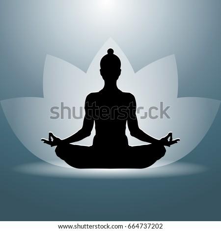 yoga lotus position silhouette vector shape stock vector