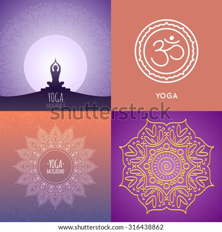 Yoga backgrounds collection. Original ethnic ornaments. Graphic design for spa yoga topic.  - stock vector