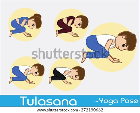 Yoga Cartoon Vector Poses - Tulasana - stock vector
