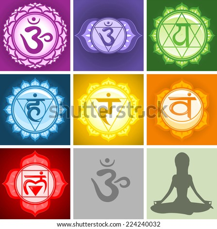 Yoga Chakras symbols collection - stock vector