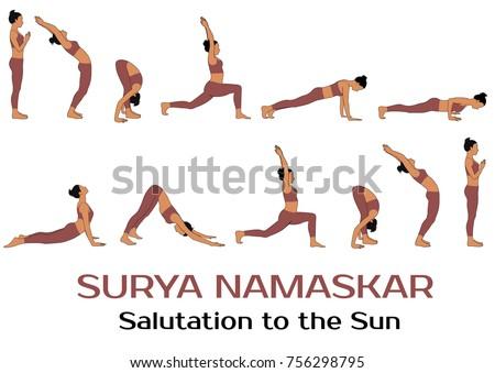 yoga complex salutation sun colored illustration stock