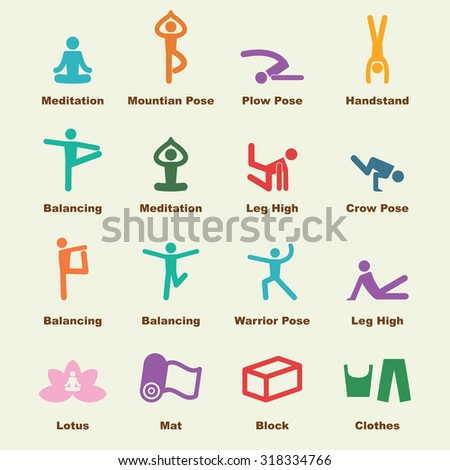 yoga elements, vector infographic icons - stock vector