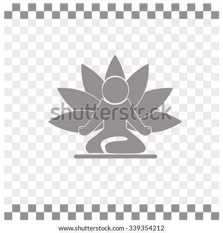Yoga figure sitting vector icon. Lotus posture - stock vector
