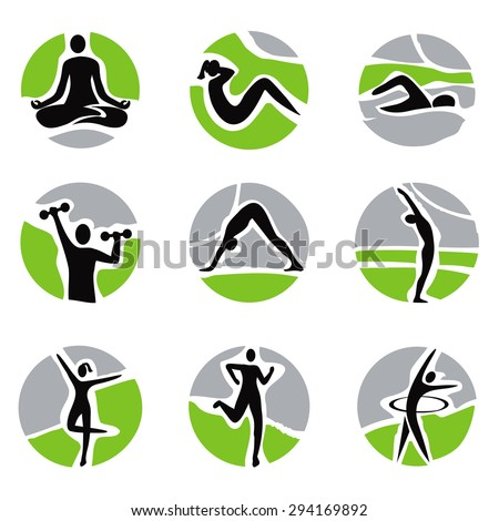 Yoga fitness icons Set of icons with fitness, yoga, health activities. Vector illustration.  - stock vector