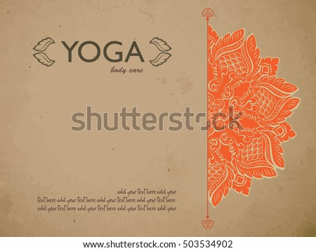 Yoga Gift Certificate Template Mandala Text Stock Vector Hd Royalty