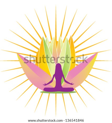 Yoga girl with lotus flower and sun rays icon vector - stock vector