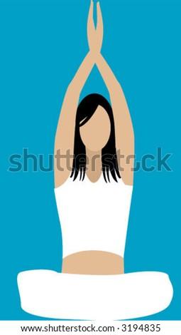 yoga illustration - stock vector