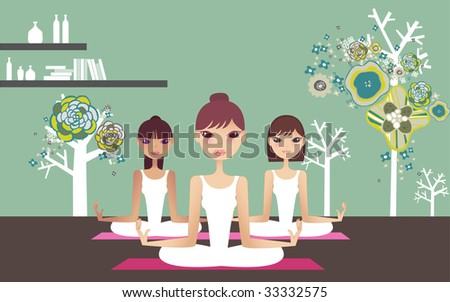 Yoga instructor and students - stock vector