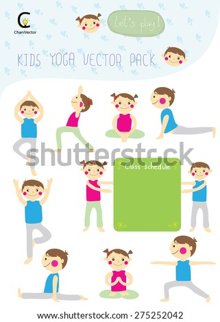 yoga kids collection with boy and girl pose yoga and board of schedule class vector - stock vector