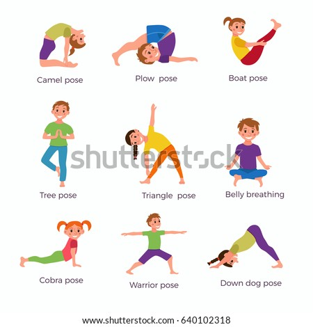 Yoga Kids Poses Set Cute Cartoon Stock Vector 640102318