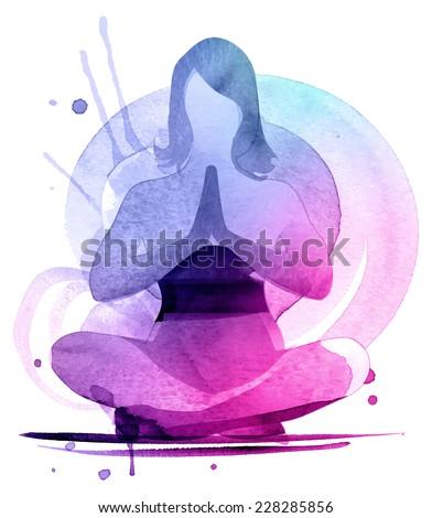 Yoga Lesson - stock vector