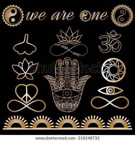 Yoga logo, yoga icons, mystic spiritual symbols, gold lines tattoo set: Buddha hand, Ying Yang symbol, Lotus flower, Infinity sign, Peace and love symbol, Ohm sign, Ginkgo leaf Metallic gold lines - stock vector