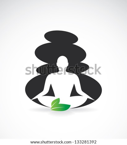 Yoga lotus with spa stones - vector illustration - stock vector