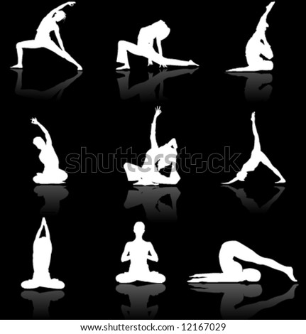 Yoga man and woman siluettes in vector art (very high detail) - stock vector