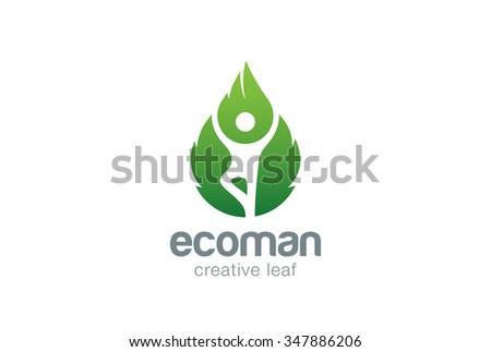Yoga Man Green Leaf Eco Logo design vector template. Ecology Natural Lifestyle Logotype concept icon. - stock vector