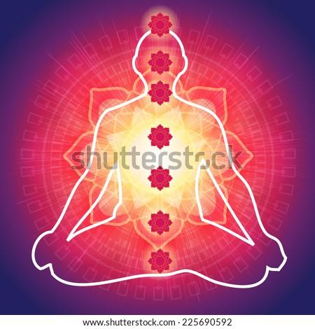 Yoga Meditation with 7 Chakras - Illustration - stock vector