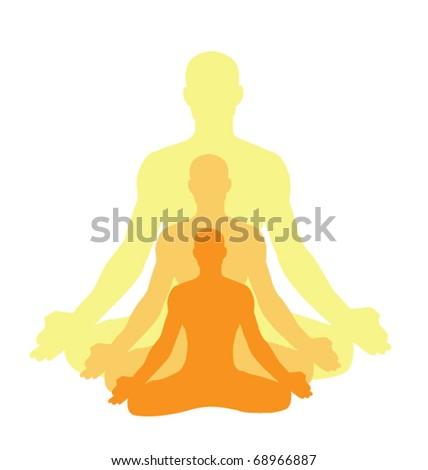 yoga-men makes relaxation exercise - stock vector