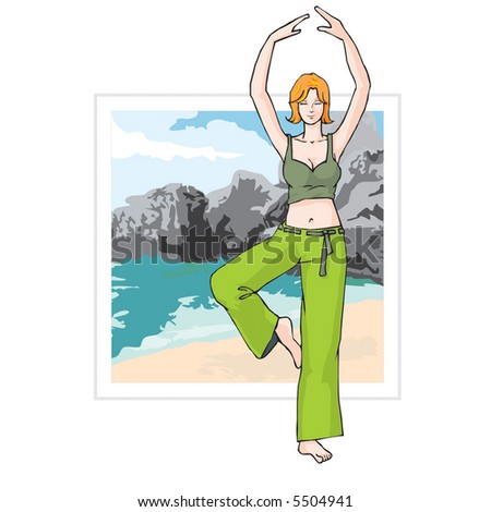 Yoga on a beach (two layers - girl and background) - stock vector
