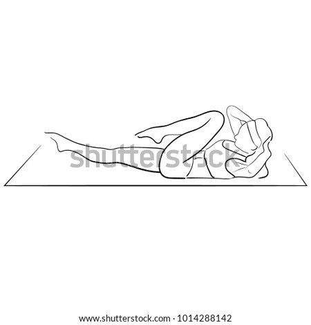 Yoga Pose Abs Young Woman Isolated Vector Illustration