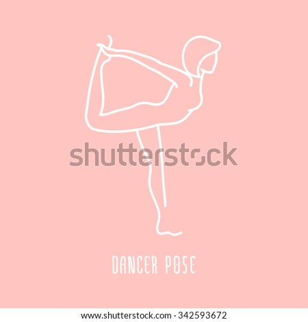 Yoga pose flat line icon, simple sign of woman in dancer pose, white outline logo on pink - vector asana, design elements for yoga and meditation spa school or center - stock vector