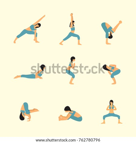 Yoga Pose Flat Vector Collection