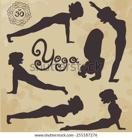 yoga pose silhouette asanas (part 3) (age paper) - stock vector