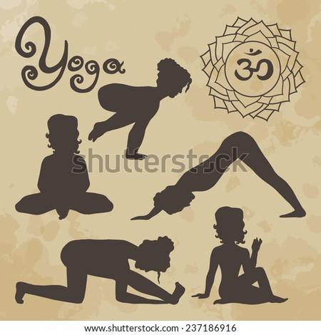 yoga pose silhouette asanas (part 2) vintage - stock vector
