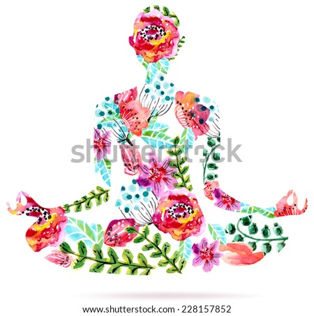 Yoga pose, watercolor bright floral illustration over white background, lotus pose - stock vector