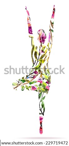 Yoga pose, watercolor bright floral illustration over white background, Vector - stock vector
