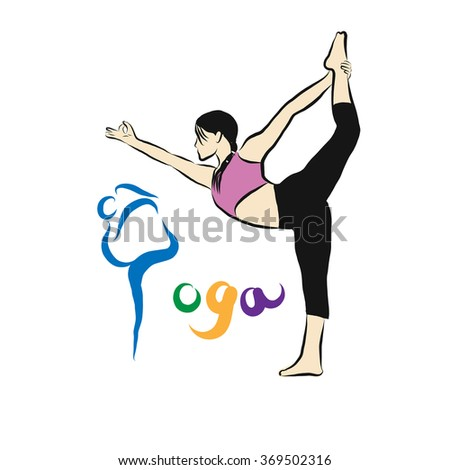 yoga pose with yoga logo in white background vector - stock vector
