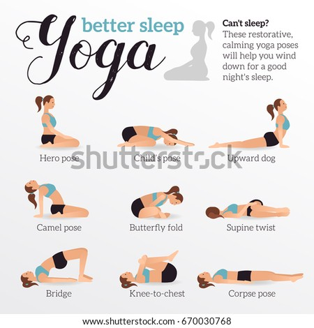 yoga poses better sleep vector illustrations stock vector