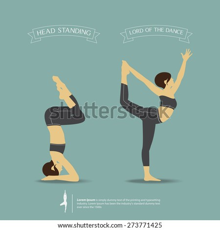 Yoga Poses In Two Position Head Standing Pose And Lord Of The Dance