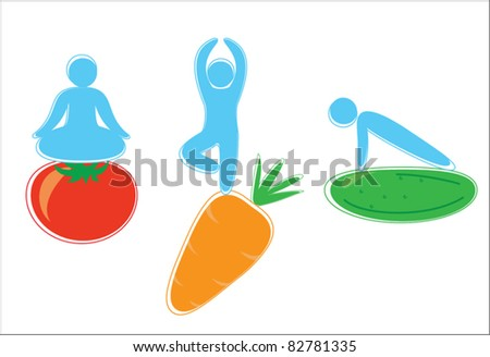 Yoga poses on vegetables - stock vector