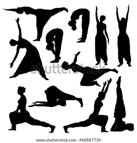 Yoga poses silhouettes. Girl in a turban and trousers doing different exercises.