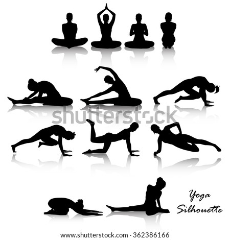 Yoga position silhouette set - stock vector