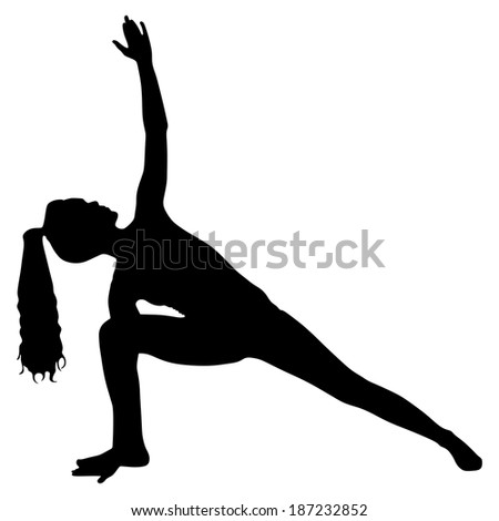 Yoga position - trikonasana  - stock vector
