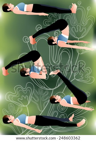 Yoga Position - young female lie down and stretching with her legs, plow pose  isolated on bright green background with white natural floral and swirl patterns : vector illustration - stock vector