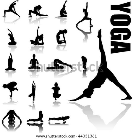 Yoga positions silhouettes in vector art - stock vector