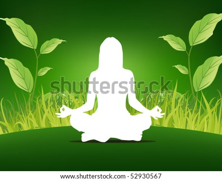 yoga poster - woman sitting on the grass background - stock vector