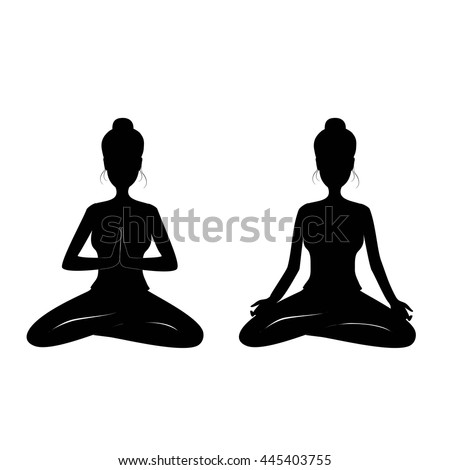 Yoga Postures Silhouette Beautiful Woman Namaste Pose Black Vector Illustration Isolated On White Background