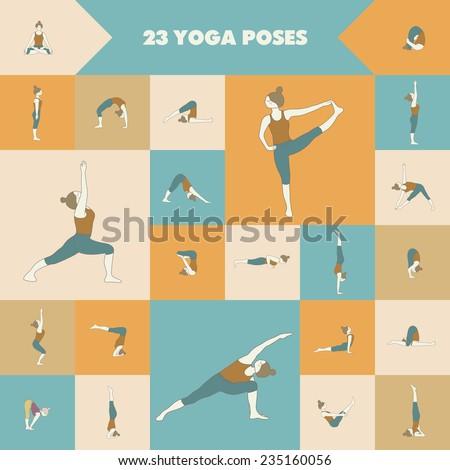 Yoga. Set of twenty three asanas (yoga poses). - stock vector