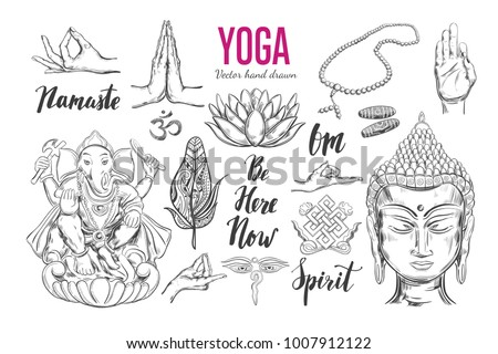 Yoga Set Vector Isolated Hand Drawn Stock Photo Photo Vector