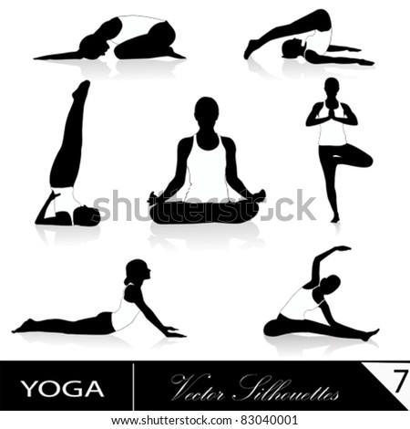 Yoga silhouette collection, vector illustration - stock vector